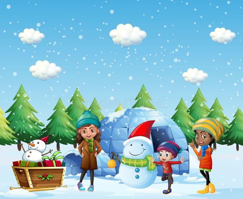 Kinderen met iglo en sneeuwman in de winter vector illustratie