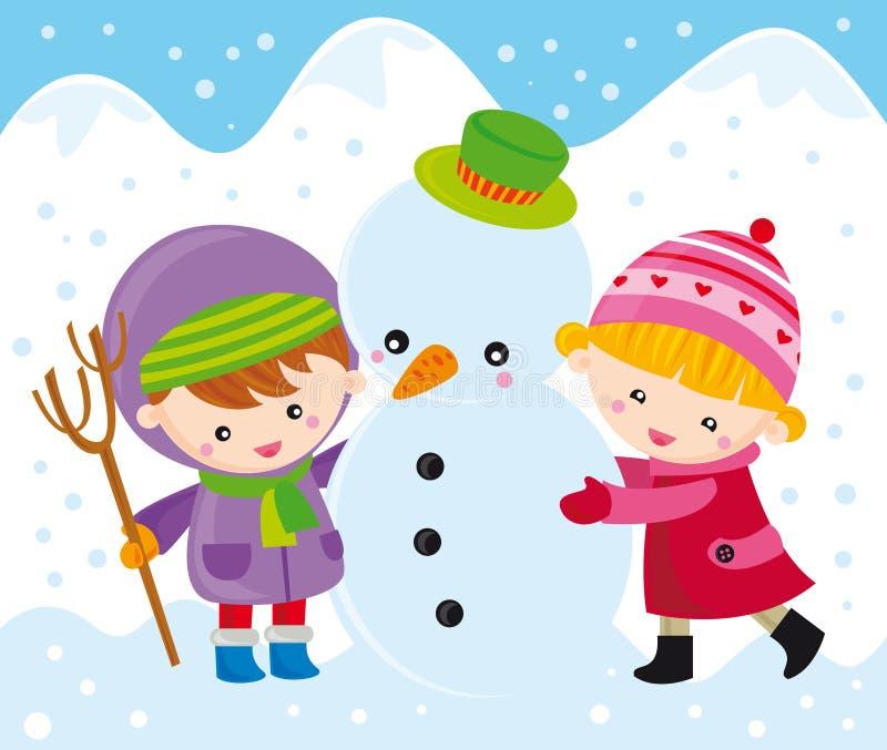 Kinderen met sneeuwman stock illustratie