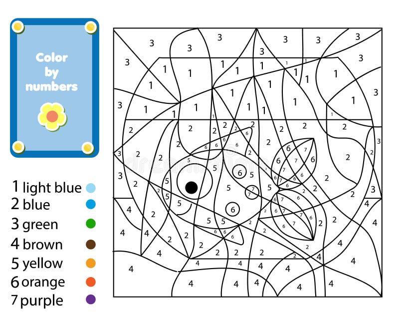 Kinderen onderwijsspel E Kleur door aantallen, voor het drukken geschikte activiteit royalty-vrije illustratie