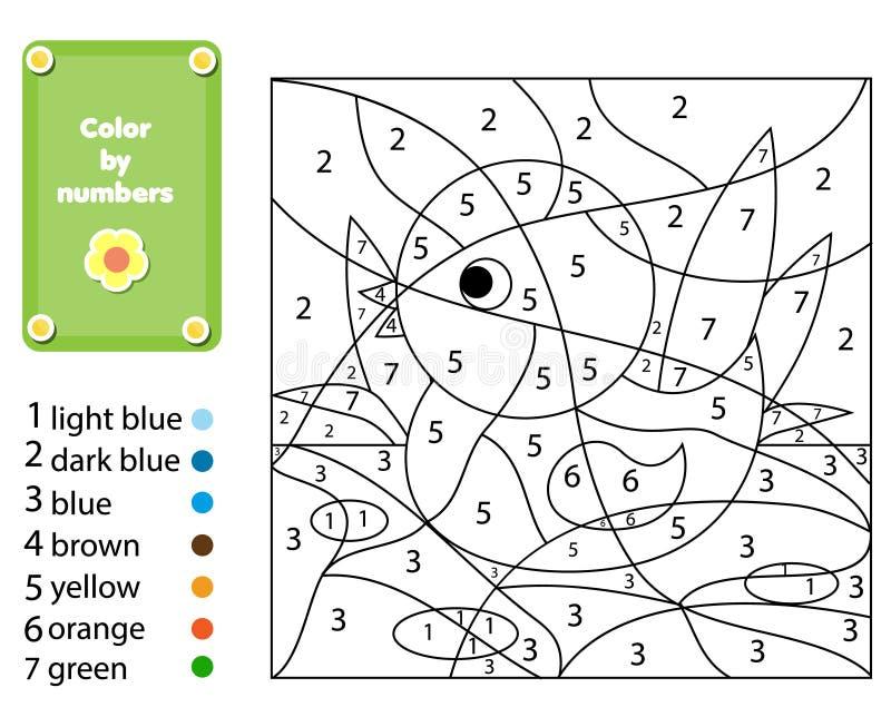 Kinderen onderwijsspel Kleurende pagina met eend Kleur door aantallen, voor het drukken geschikte activiteit stock illustratie