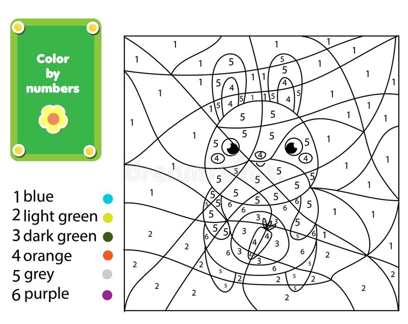 Kinderen onderwijsspel Kleurende pagina met konijn Kleur door aantallen, voor het drukken geschikte activiteit vector illustratie