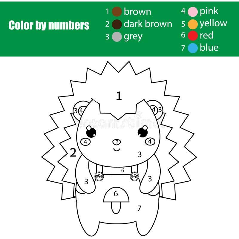 Kinderen onderwijsspel Kleurende pagina met leuke egel Kleur door aantallen, voor het drukken geschikte activiteit stock illustratie