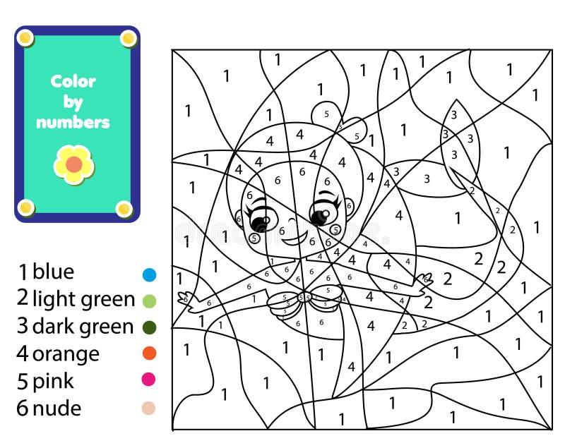 Kinderen onderwijsspel Meermin kleurende pagina Kleur door aantallen, voor het drukken geschikte activiteit voor jonge geitjes en stock illustratie