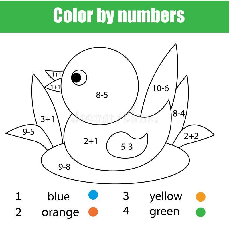 Kinderen onderwijsspel Wiskunde kleurende pagina met eend Los vergelijkingen en kleurenbeeld op vector illustratie