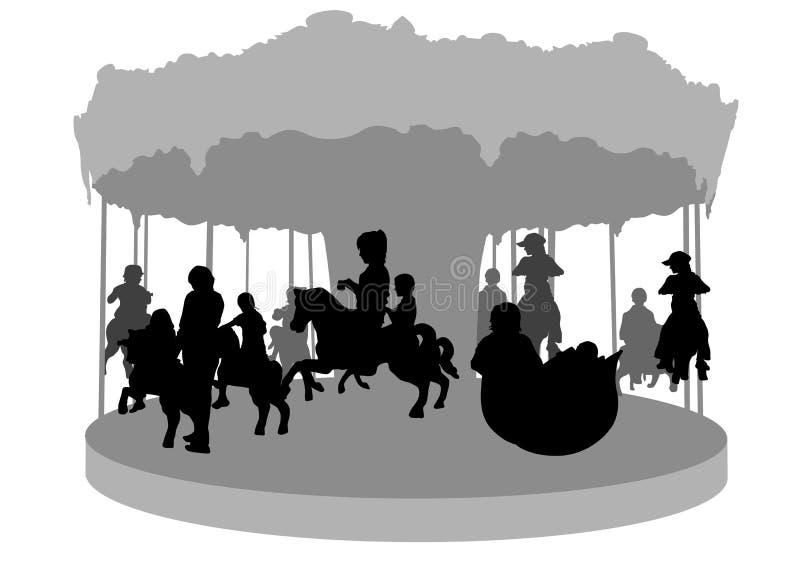 Kinderen op carrousel royalty-vrije illustratie