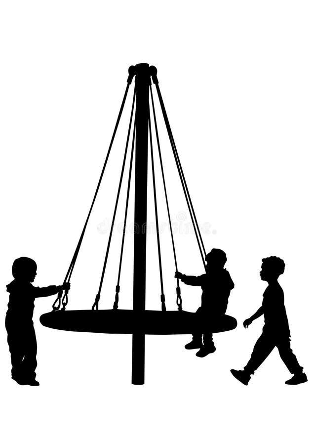 Kinderen op carrousel drie royalty-vrije illustratie