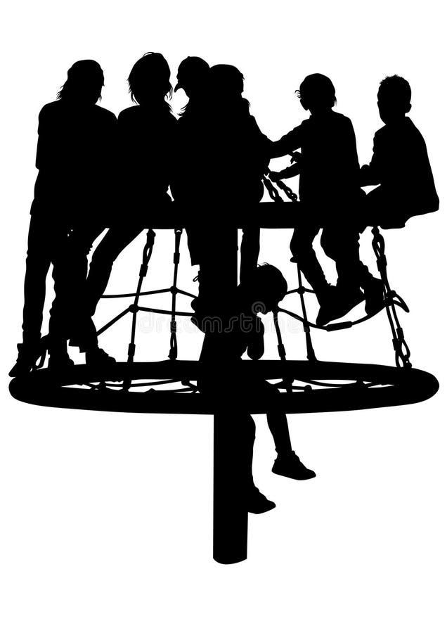 Kinderen op carrousel twee vector illustratie
