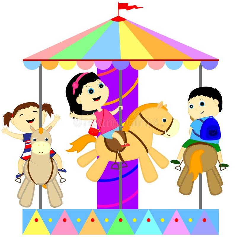 Kinderen op de carrousel royalty-vrije illustratie