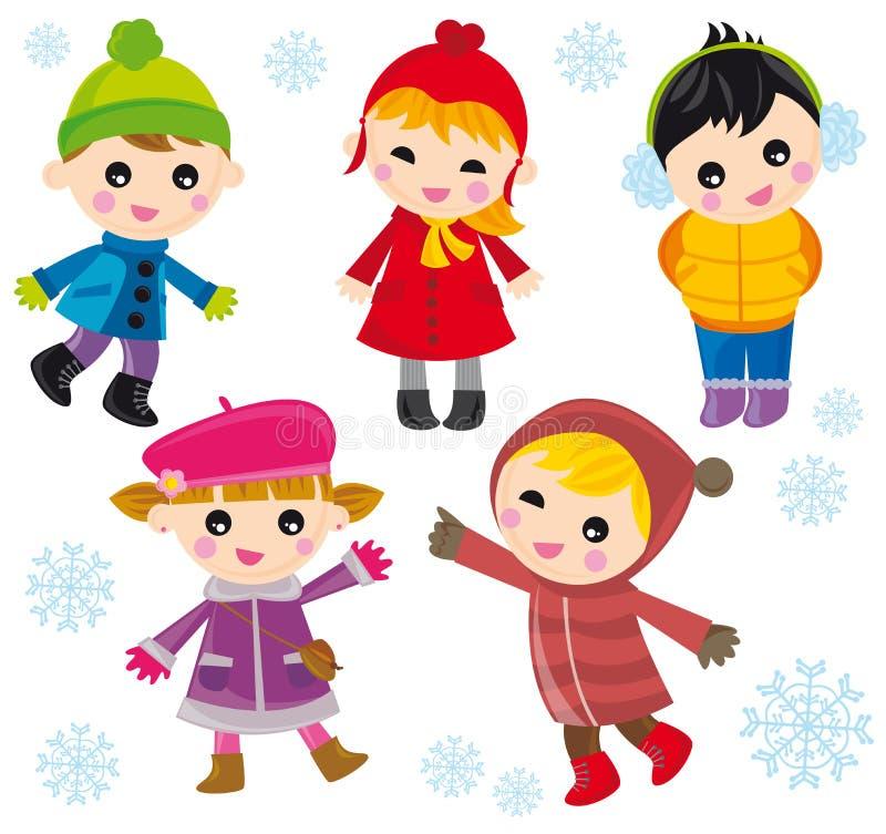 Kinderen op de winter royalty-vrije illustratie