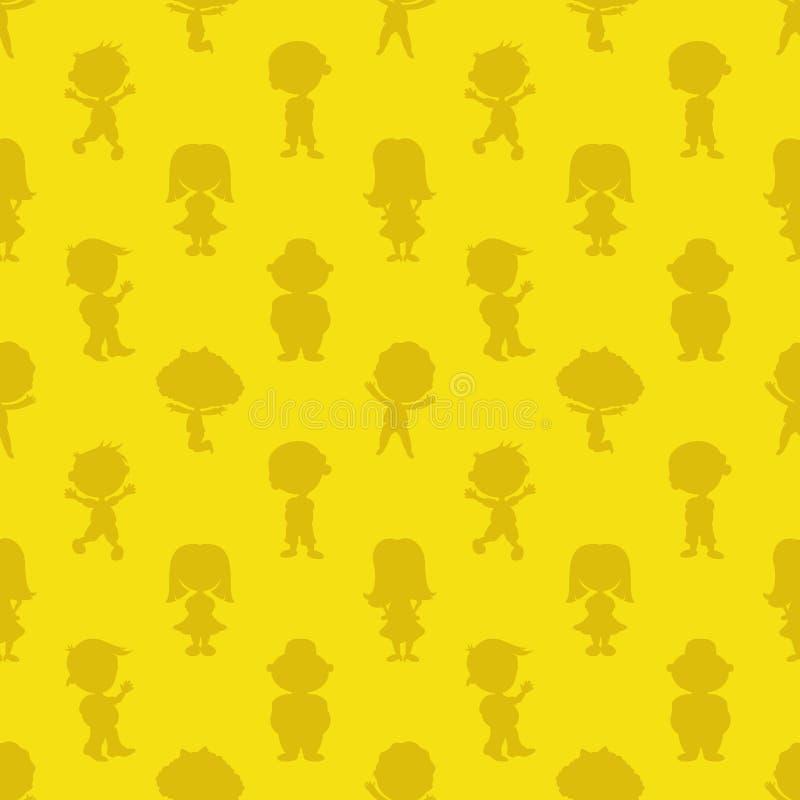 Kinderen op een gele achtergrond royalty-vrije illustratie