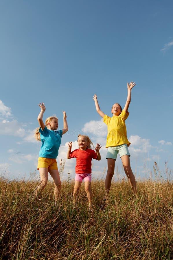 Kinderen op een weide royalty-vrije stock foto