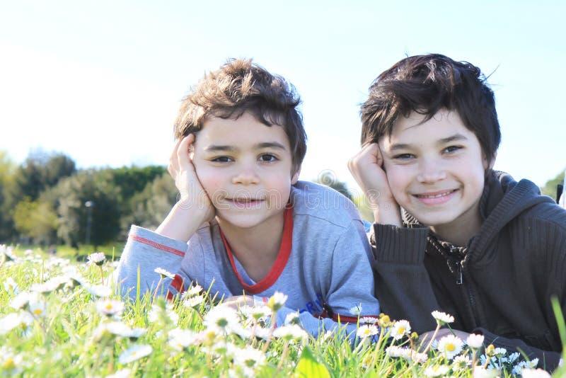 Kinderen op groen gras stock fotografie
