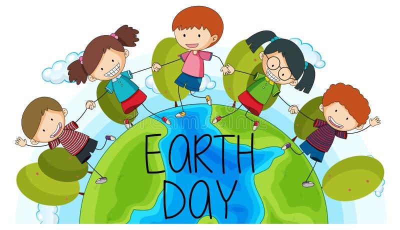 Kinderen op het embleem van de aardedag stock illustratie