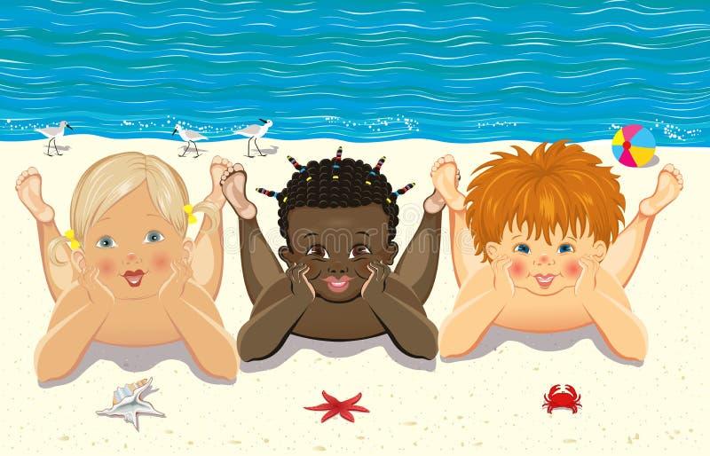 Kinderen op het strand vector illustratie
