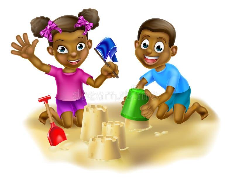 Kinderen op het strand stock illustratie