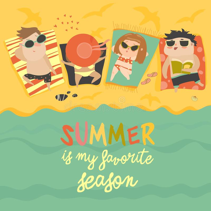 Kinderen op het zonnige strand stock illustratie