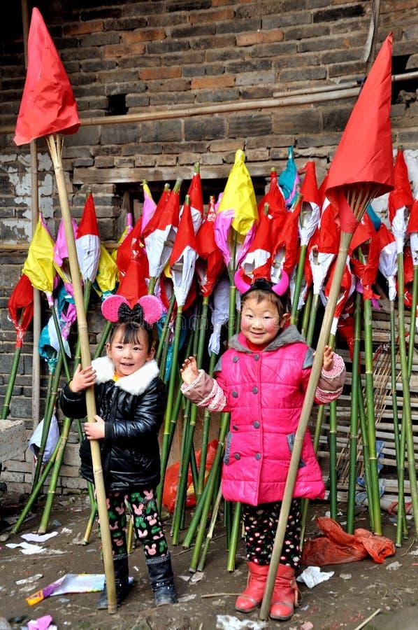 Kinderen op Padfestival stock afbeelding