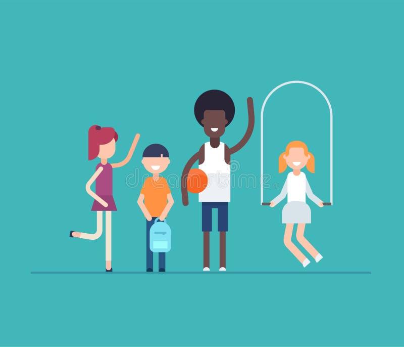 Kinderen op PE les - moderne vlakke ontwerpstijl geïsoleerde illustratie royalty-vrije illustratie