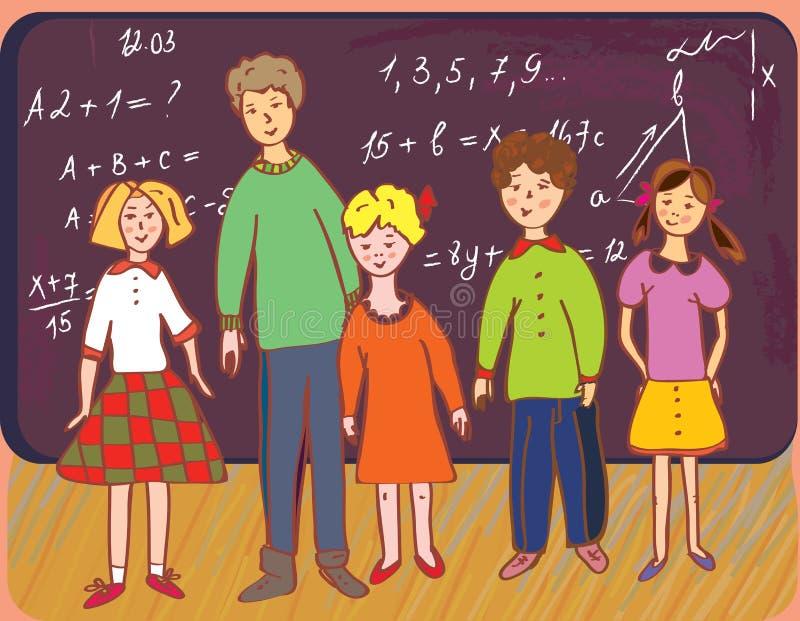 Kinderen op school met leraar vector illustratie