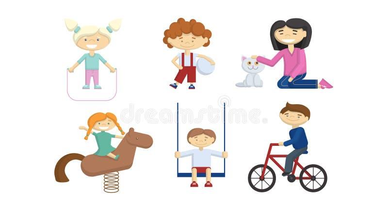 Kinderen op speelplaats stock illustratie
