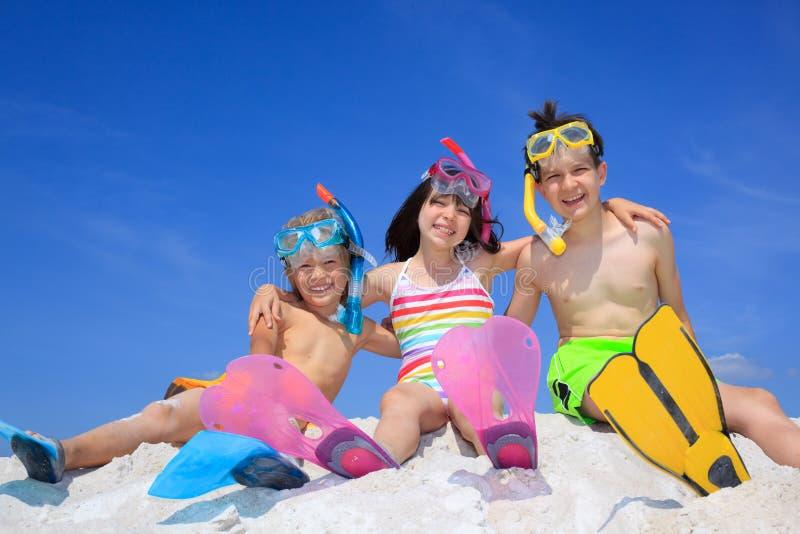 Kinderen op Strand stock fotografie