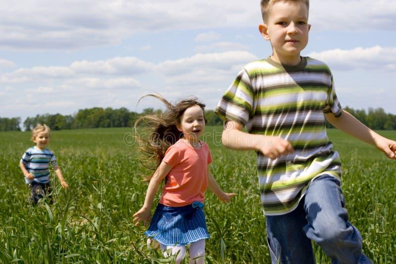 Kinderen op weide stock afbeelding