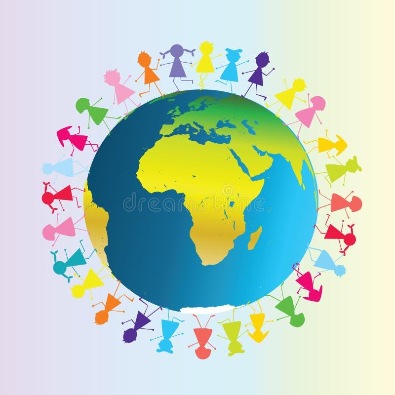 Kinderen rond Aarde vector illustratie