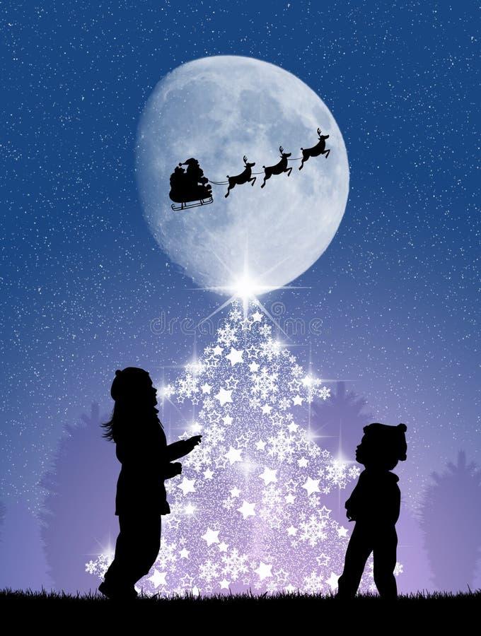 Kinderen rond de Kerstboom stock illustratie