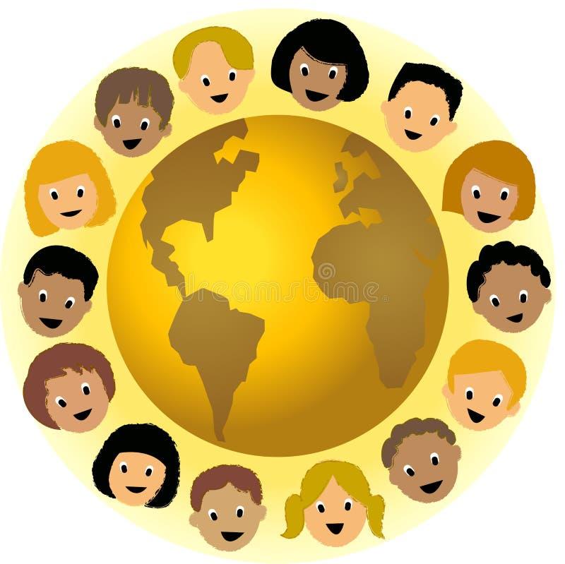 Kinderen rond de Wereld stock illustratie