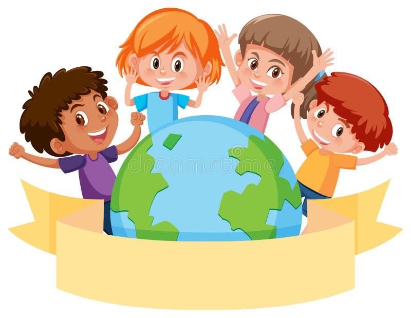Kinderen rond een bol met banner vector illustratie