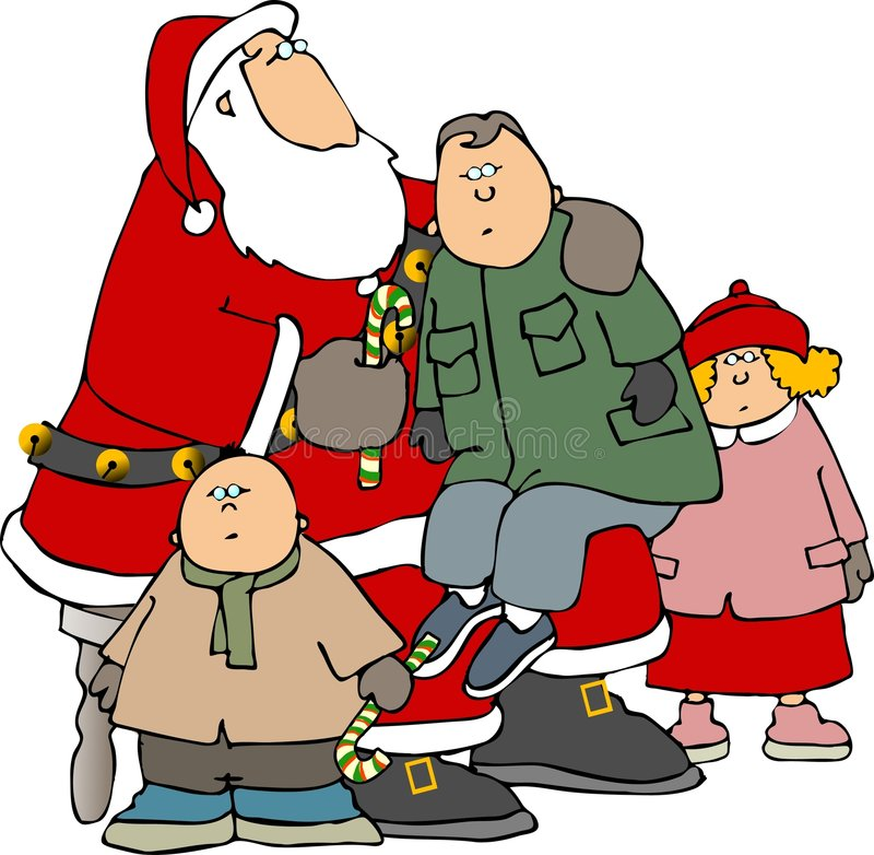 Kinderen rond Kerstman vector illustratie
