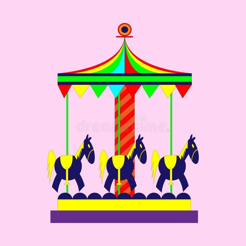Kinderen` s carrousel met paarden royalty-vrije illustratie