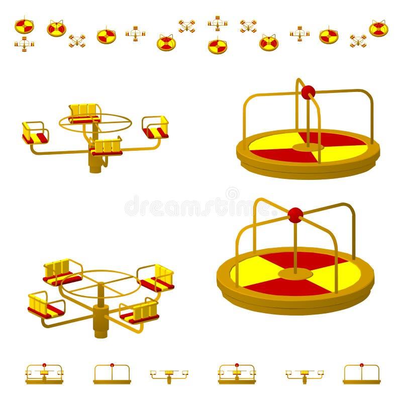 Kinderen` s Carrousel of rotonde in verschillende projecties vanuit verschillende vlakke invalshoeken, isometrisch, Geïsoleerdj o stock illustratie