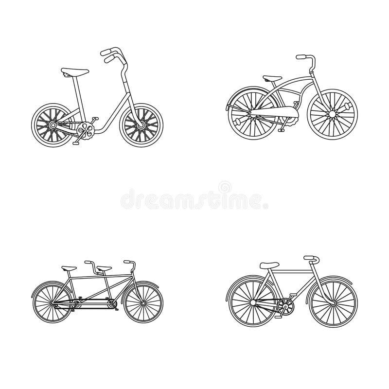 Kinderen` s fiets, dubbele types achter elkaar en andere Verschillende fietsen geplaatst inzamelingspictogrammen in de vector van stock illustratie