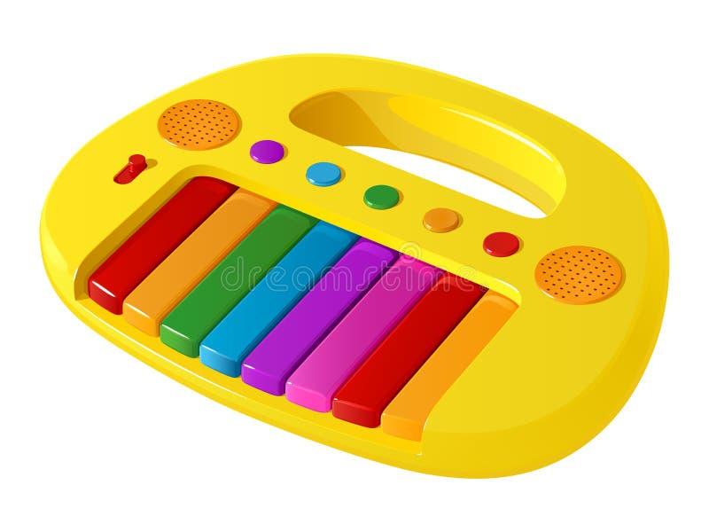 Kinderen` s gele stuk speelgoed elektrische piano met multicolored sleutels en knopen stock illustratie