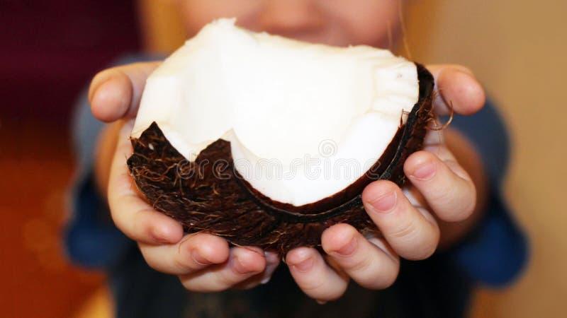 Kinderen` s handen die een kokosnoot houden royalty-vrije stock foto's