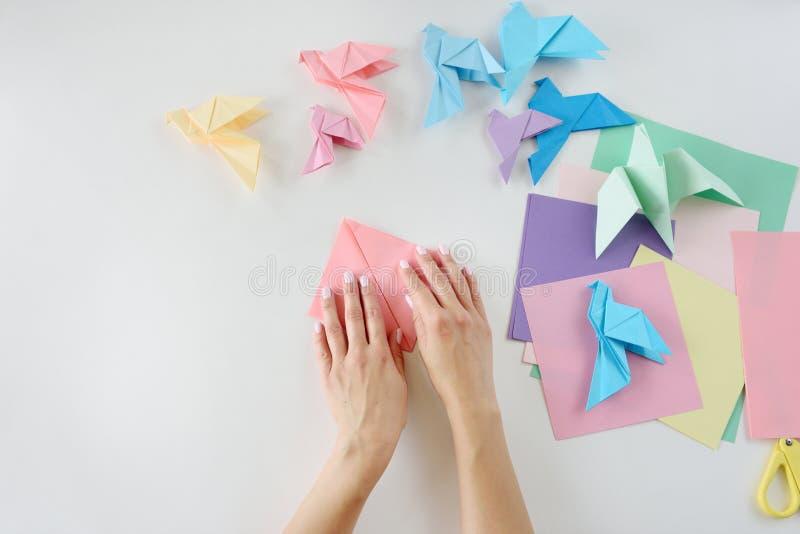 Kinderen ` s hands do origami van gekleurd document op witte achtergrond Les van origami royalty-vrije stock afbeeldingen