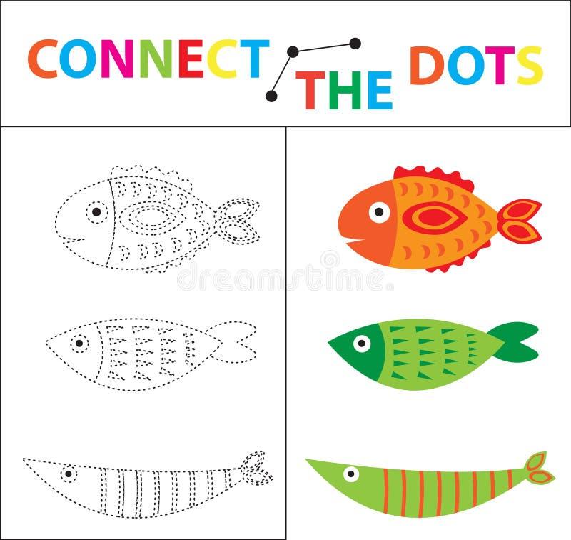 Kinderen` s onderwijsspel voor motorvaardigheden Verbind het puntenbeeld Voor kinderen van peuterleeftijd Cirkel op royalty-vrije illustratie