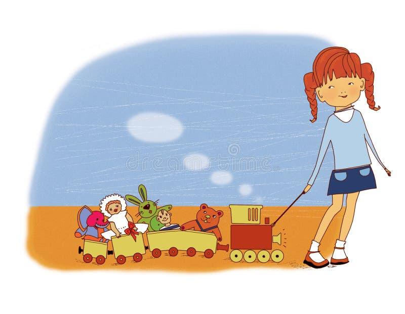 Kinderen` s speelgoed Het meisje trekt een stuk speelgoed trein met marionetten, een stuk speelgoed konijn en een babyolifant op  royalty-vrije illustratie
