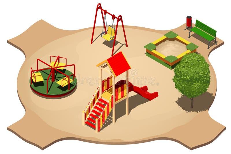 Kinderen` s speelplaats met schommeling, carrousel, zandbak en dia voor het schaatsen, isometrische vectorillustratie stock illustratie