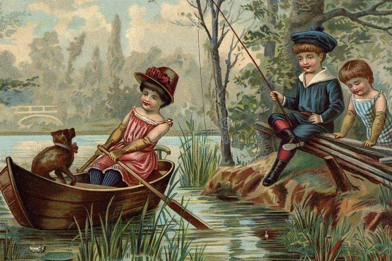 kinderen` s spelen Visserij vector illustratie