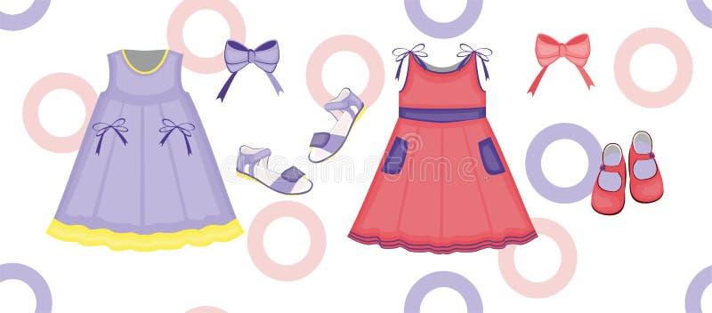 Kinderen ` s sundresses en sandals stock afbeelding