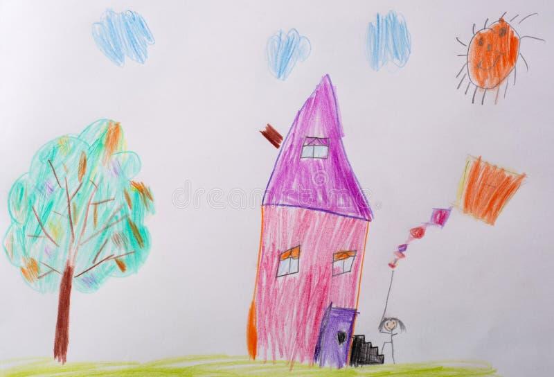 Kinderen` s tekening Het Beeld van kinderen - me en Mijn Huis Wat een beeld van kinderen kan vertellen Het psychologische testen  royalty-vrije illustratie
