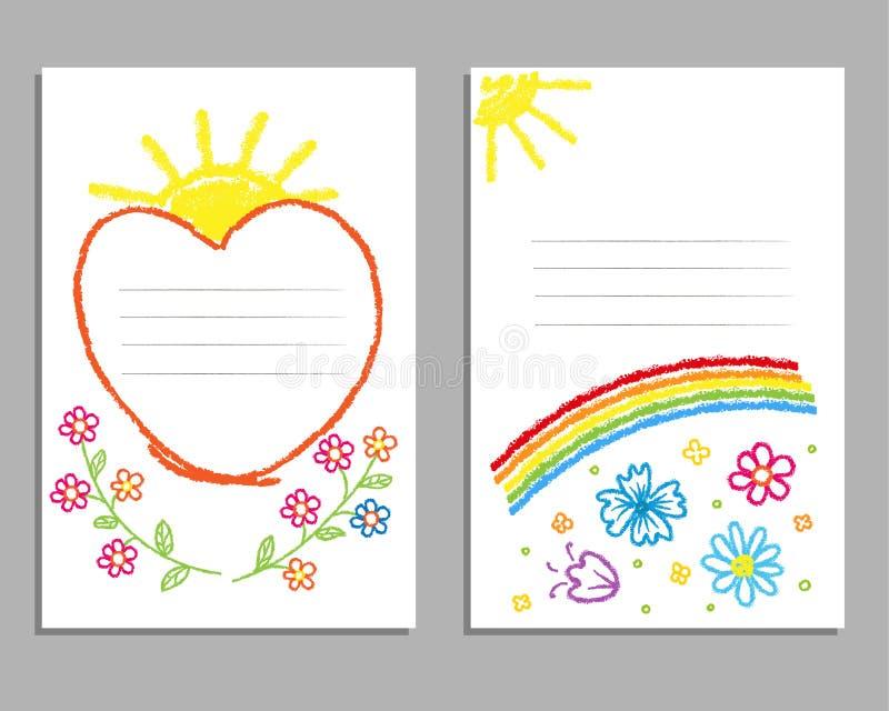 Kinderen` s tekening met kleurpotloden Kaarten met een regenboog, bloemen, de zon stock illustratie