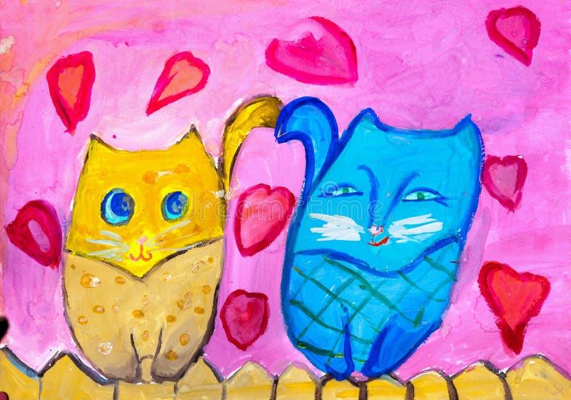Kinderen` s tekening Twee katten zitten op omheining royalty-vrije illustratie