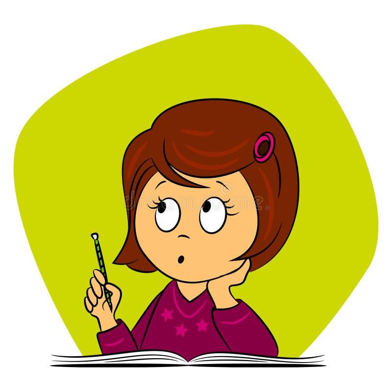 Kinderen in school - het meisje denkt royalty-vrije illustratie