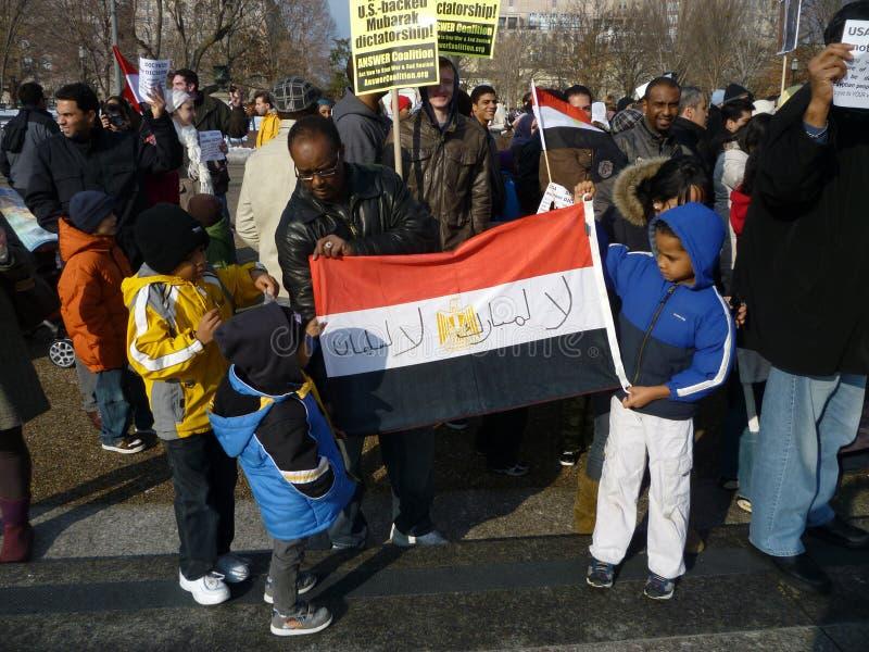 Kinderen tegen Hosni Mubarak royalty-vrije stock foto's