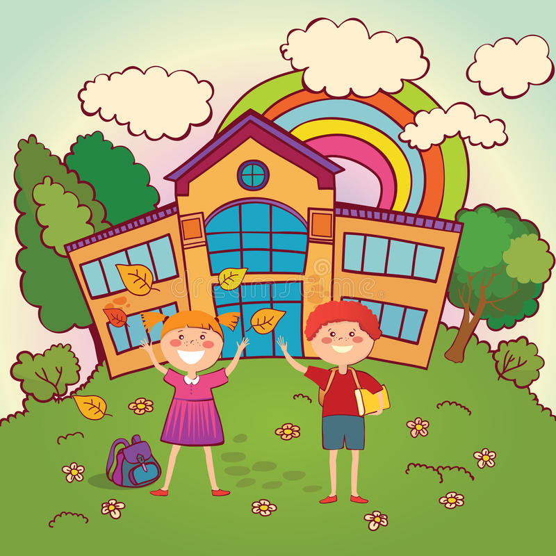 Kinderen terug naar school royalty-vrije illustratie