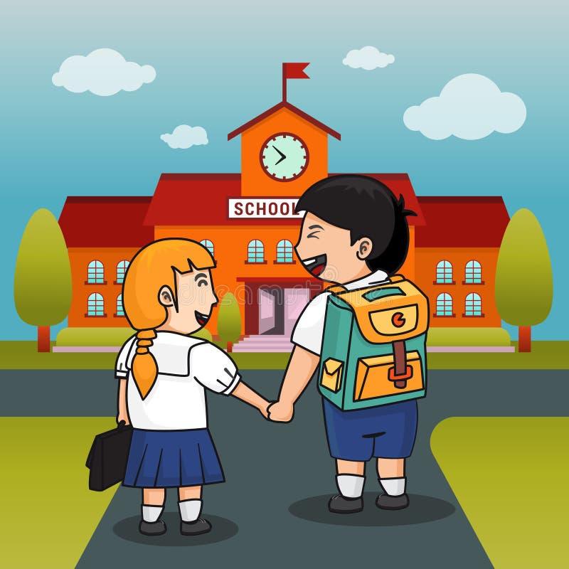 Kinderen terug naar schoolachtergrond Vector illustratie vector illustratie