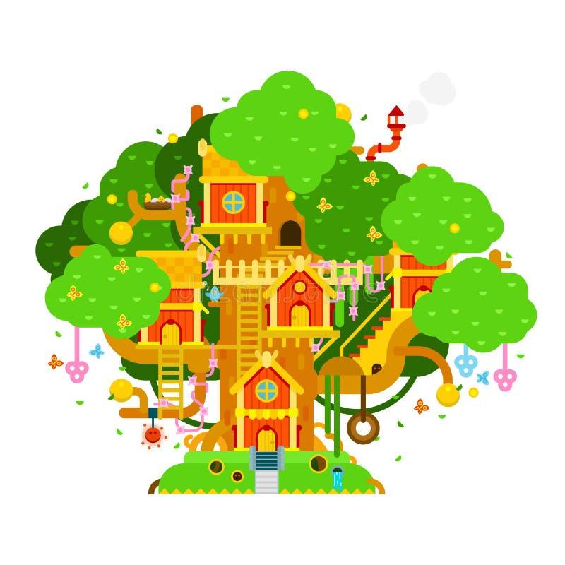 Kinderen treehouse kleurrijke vectorillustratie met huizen, royalty-vrije illustratie